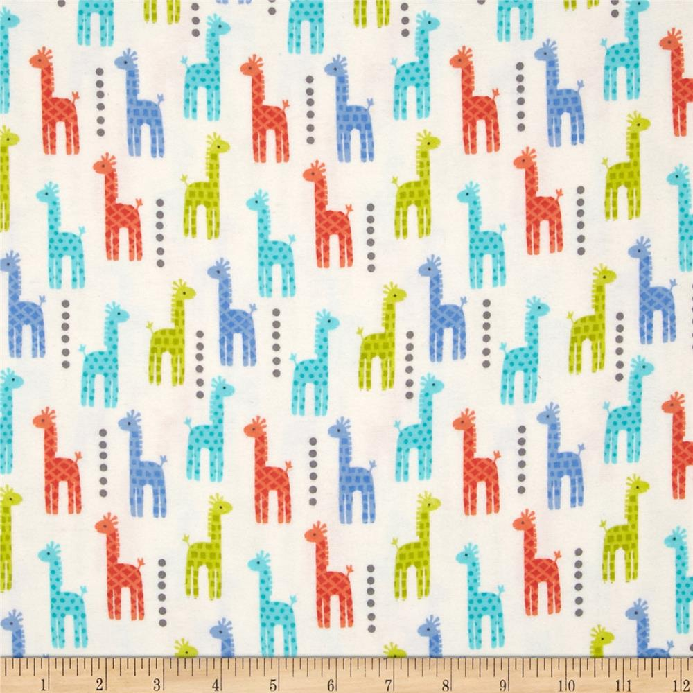 Michael Miller Baby Flannel Zoo Littles -It's a Boy Thing- Blue