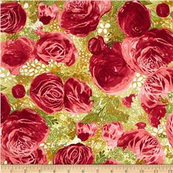 Blissful Moments Large Floral Red Fabric