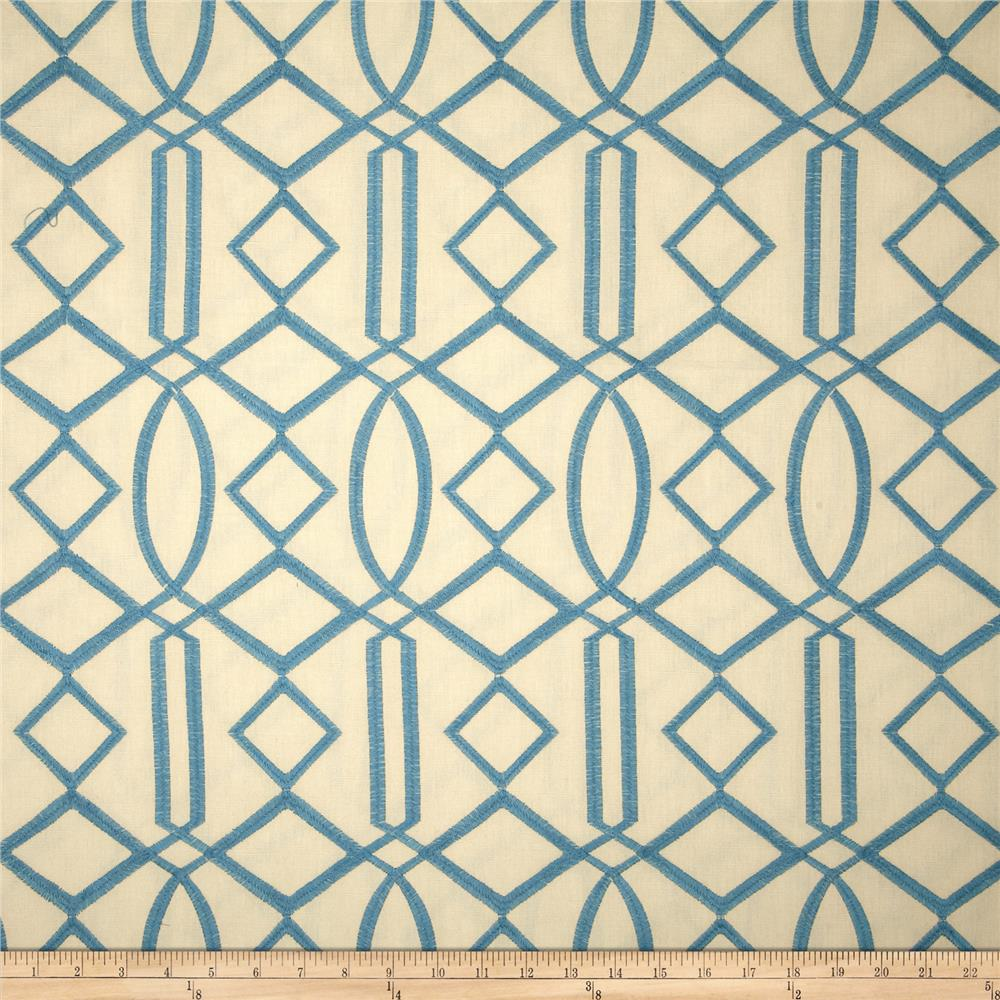 Isabelle De Borchgrave Embroidered Hall Turquoise