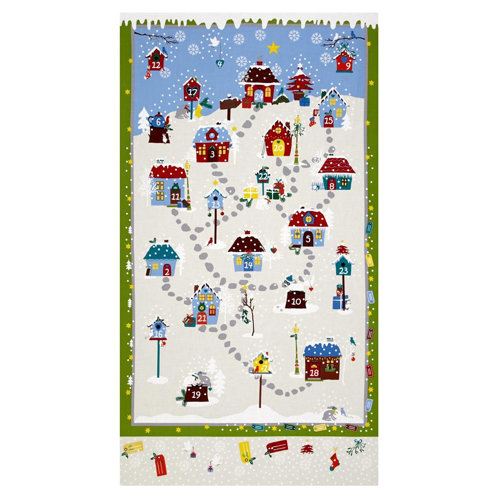 "Snow Village 25"" Advent Calander Cream"
