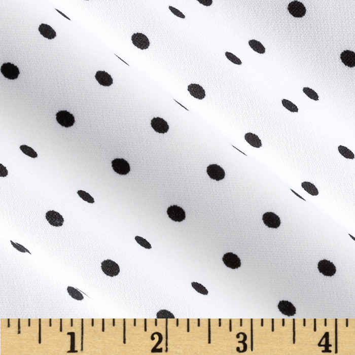 Designer Poly Shirting Polka Dot White/Black