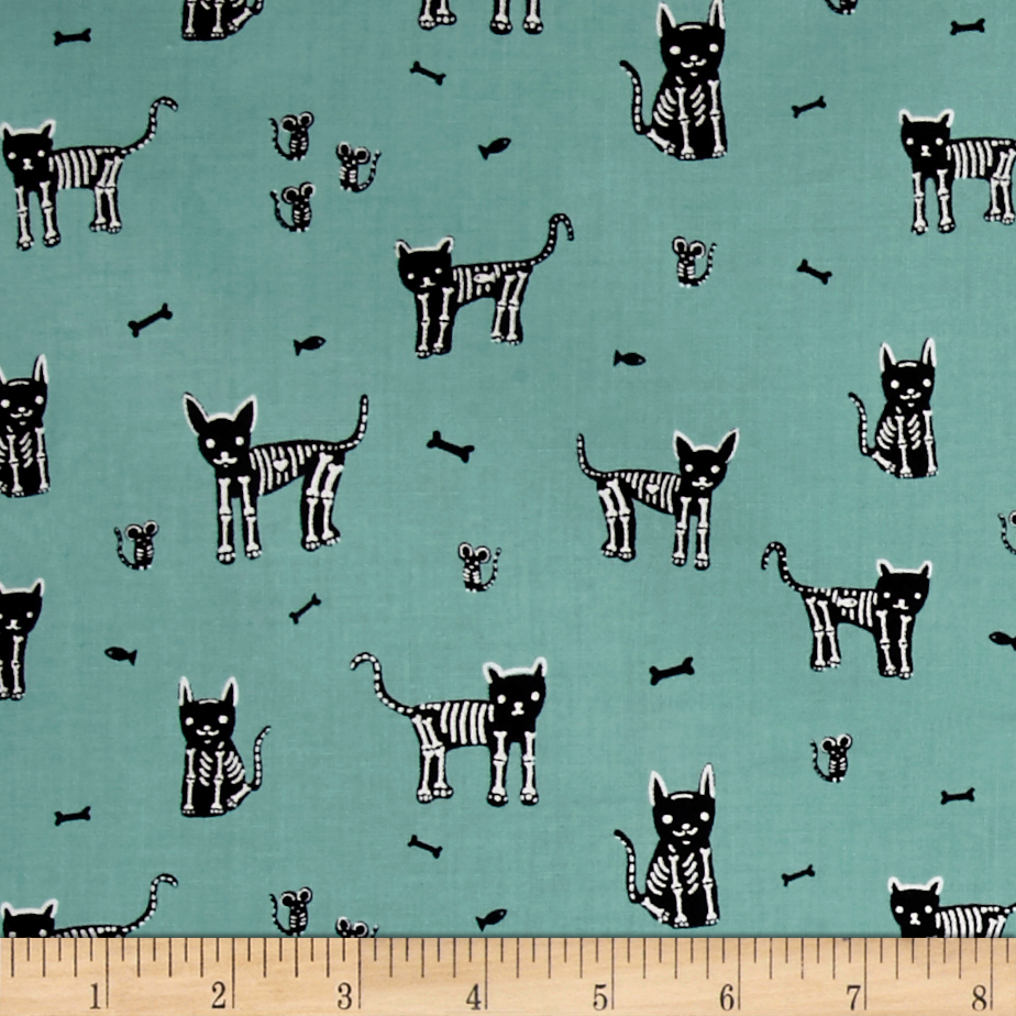 Cotton + Steel Boo My Pet Skeleton Teal Fabric by Cotton & Steel in USA