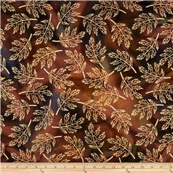 Indian Batik Harvest Large Leaf Metallic Brown