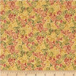 Fusions Regent Small Scroll Metallic Holiday Red Fabric
