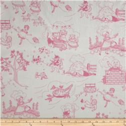 Minky Toile Cuddle White/Hot Pink Fabric