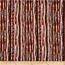 Autumn in the Forest Metallic Tree Stripe Grey/Brown