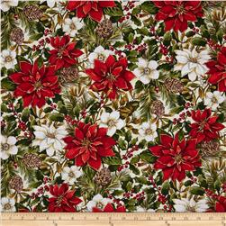 Woodland Christmas Poinsettia & Pine Cones Multi