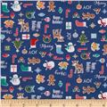 Riley Blake Cotton Jersey Knit Cozy Christmas Main Navy