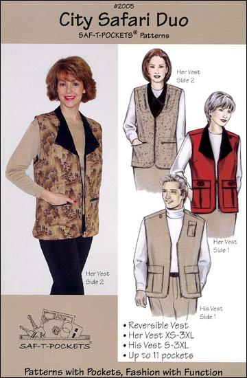 Saf-T-Pockets City Safari Duo Uni-Sex Reversible Uni-Sex Vest Pattern