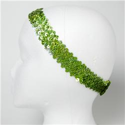 "1 1/4"" Hologram Sequin Stretch Headband Lime"