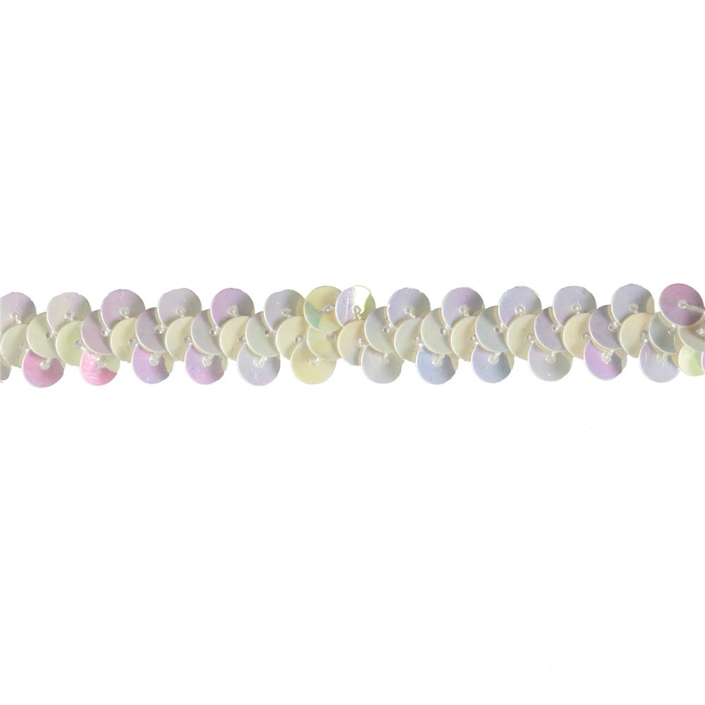 "3/8"" Stretch Sequin Trim White Aurora Borealis"