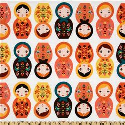 Little Kukla Wooden Dolls Retro Orange Fabric