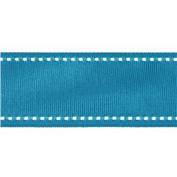 1 1/2'' Grosgrain Ribbon Saddle Stitch Turquoise/White