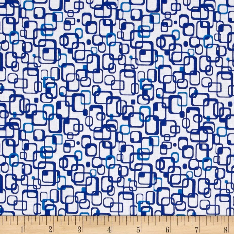 Graphix 3 Link Squares Baby Blue Fabric By The Yard