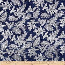Island Batik Holiday Pine Needles Metallic Navy