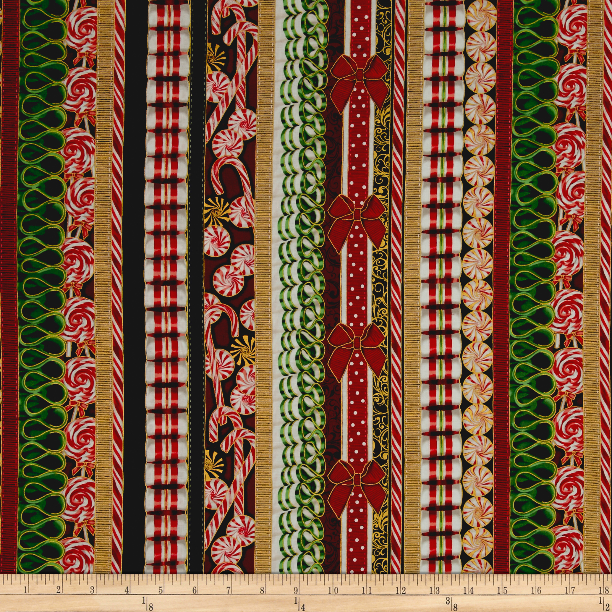 Suite Christmas Metallic Land Of The Sweets Stripe Candy Cane Fabric By The Yard