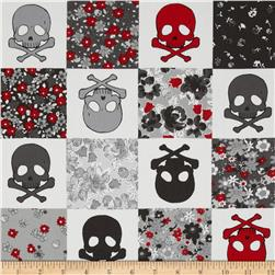 Kokka Skulls and Flowers White/Grey
