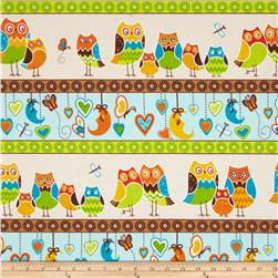 Owl Wonderful Flannel Repeating Stripe Multi Fabric