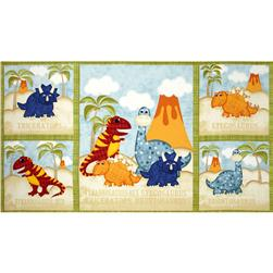 Have You Seen My Dinosaur? Quilt Panel Blue