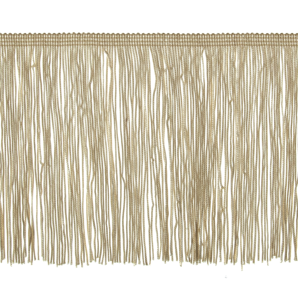 6'' Chainette Fringe Trim Ivory Fabric