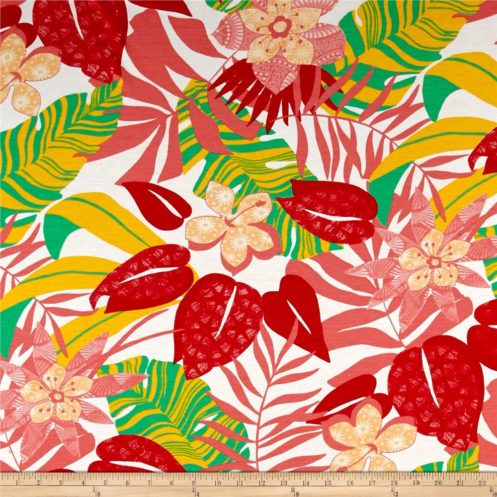 French Designer Jersey Knit Tropical Floral Coral/Green Fabric