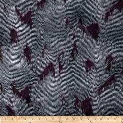 Faux Fur Fancy Feather Wine/Grey Fabric