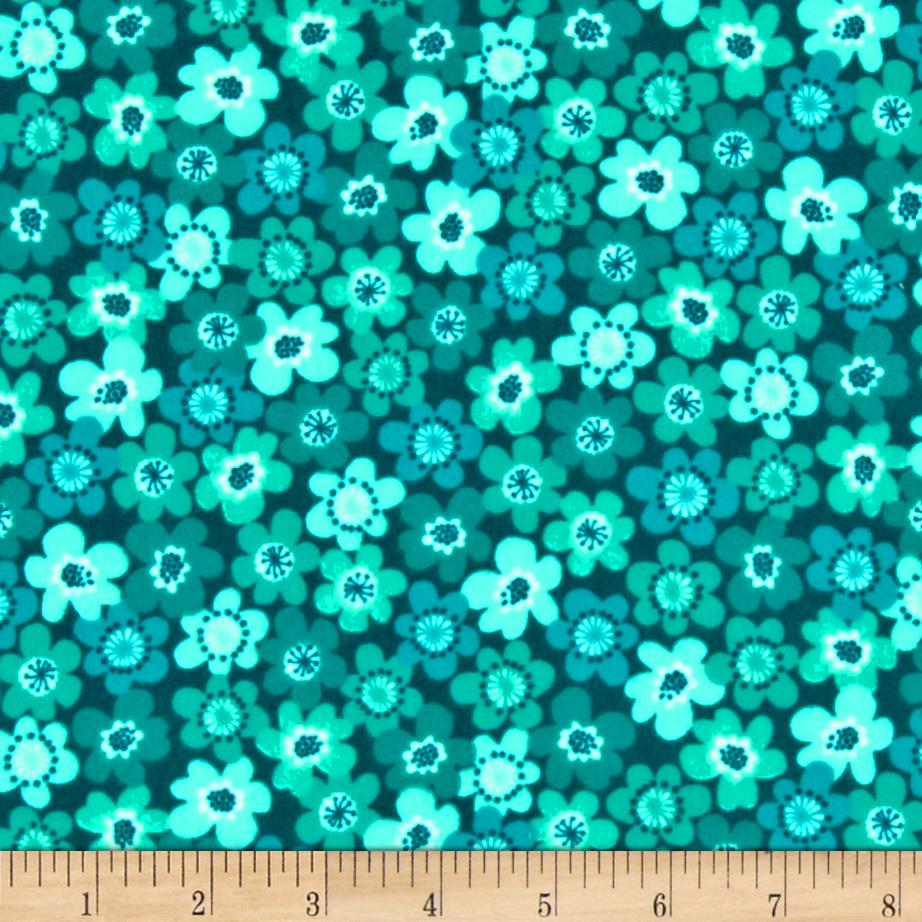 Punch Garden Flannel Small Mod Flowers Retro Teal