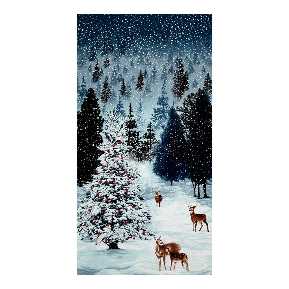 """Merry, Berry & Bright Metallic Frosted Forest 24"""" Panel December"""