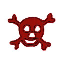 Skull with Felt Applique Red