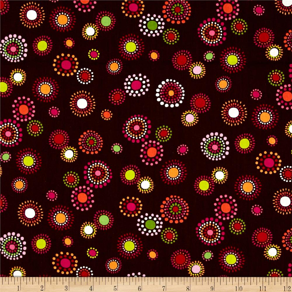 Timeless Treasures Maya Dot Bloom Brown
