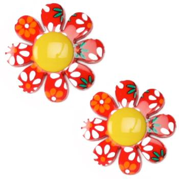 Novelty Button 7/8'' Flower Power Yellow/Multi