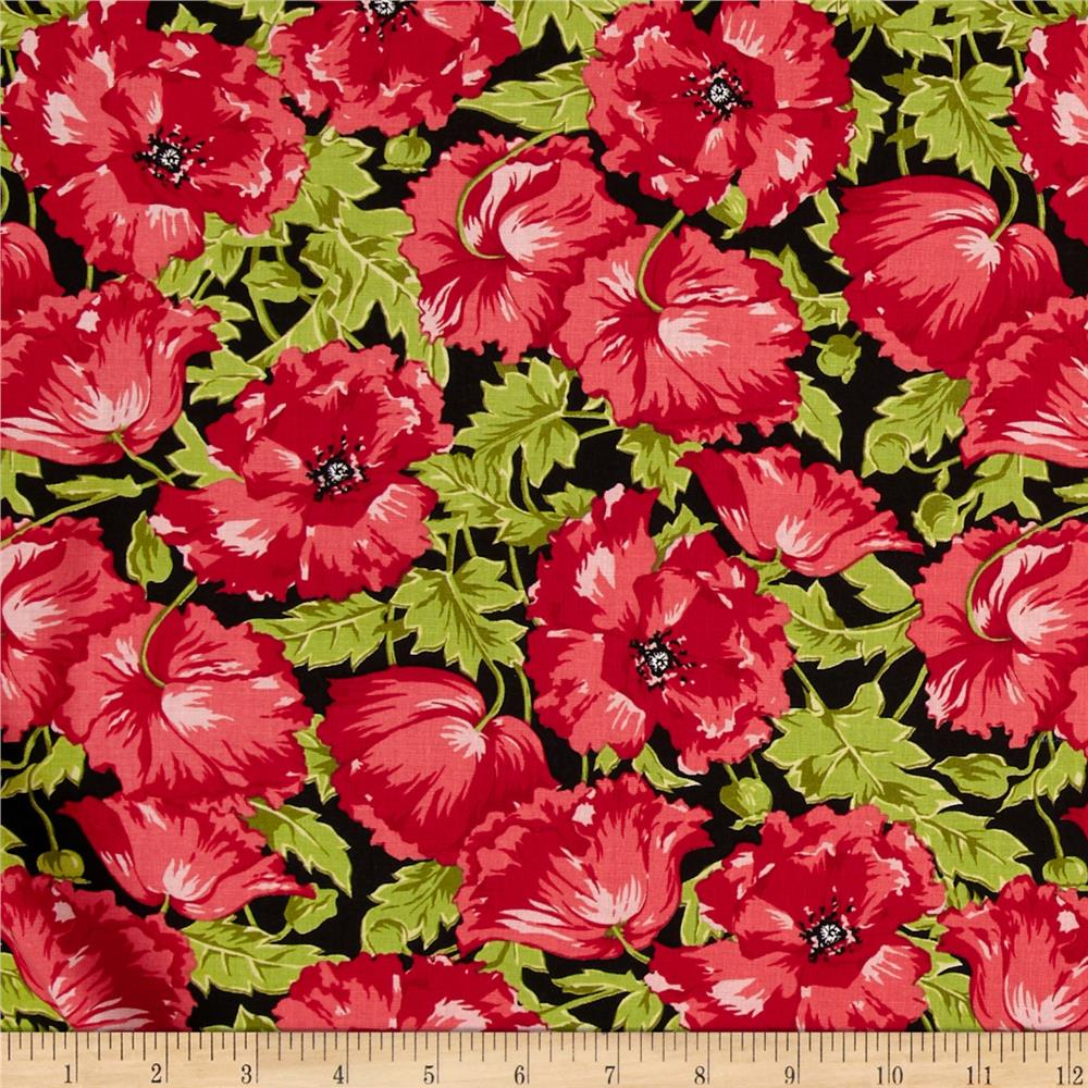 Poppy Patio Large Floral Red Black