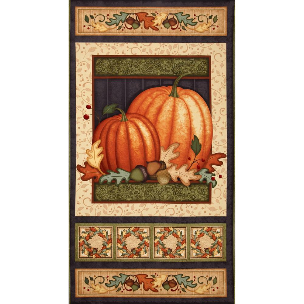 Harvest Fare Pumpkin Panel Cream/Black