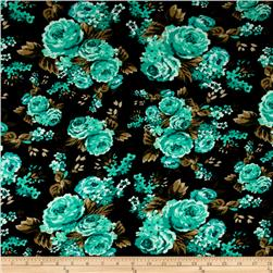 Jersey Knit Floral Print Green/Black