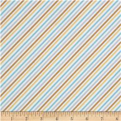 Cotton Tale Flannel Diagonal Stripe Aqua
