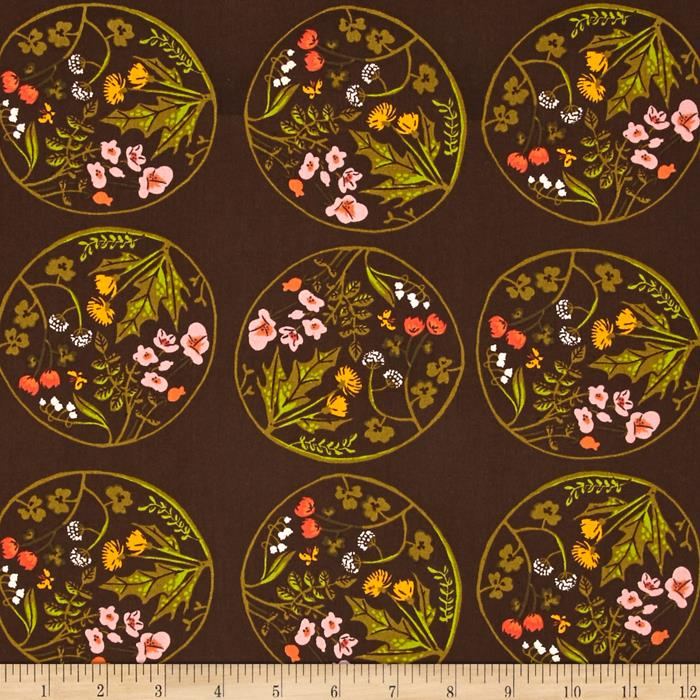 Heather Ross Tiger Lily Wreaths Brown