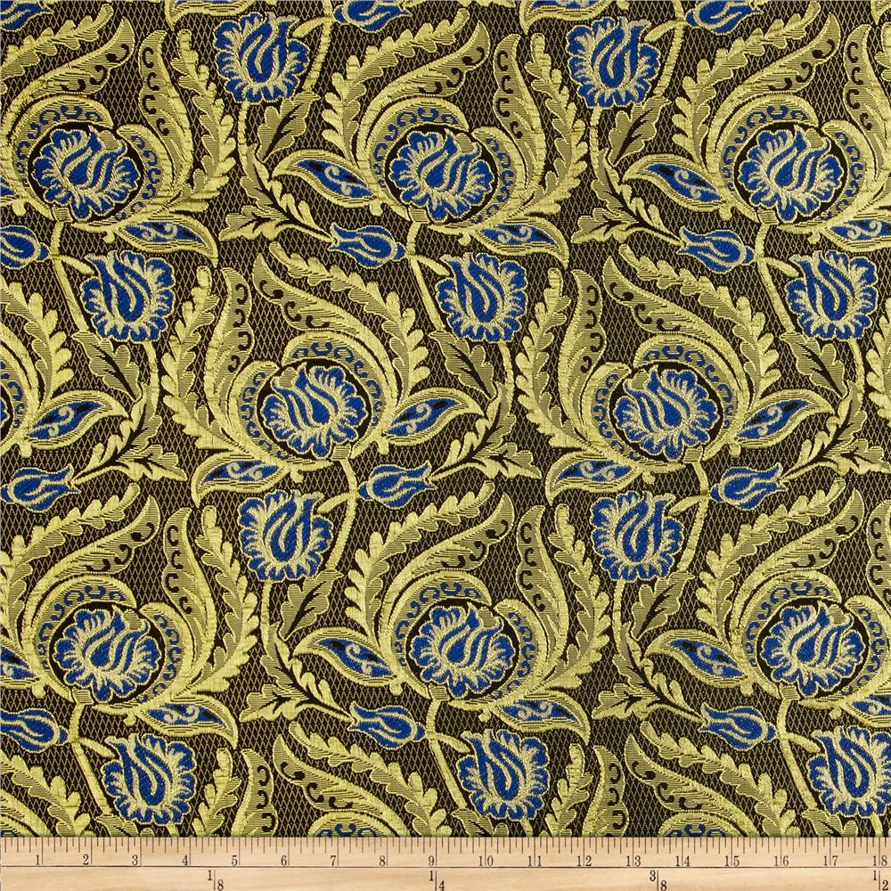Metallic Brocade Majestic Floral Gold/Blue