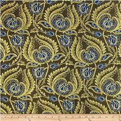 Metallic Brocade Majestic Floral Gold/Blue Fabric