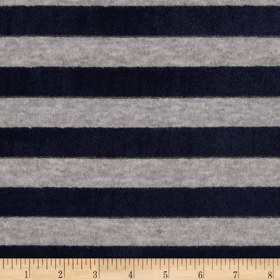 Designer Hatchi Sweater Knit Velour Stripe Grey/Navy