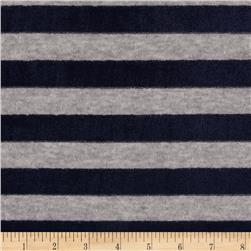 Designer Hatchi Sweater Knit Velour Stripe Grey/Navy Fabric