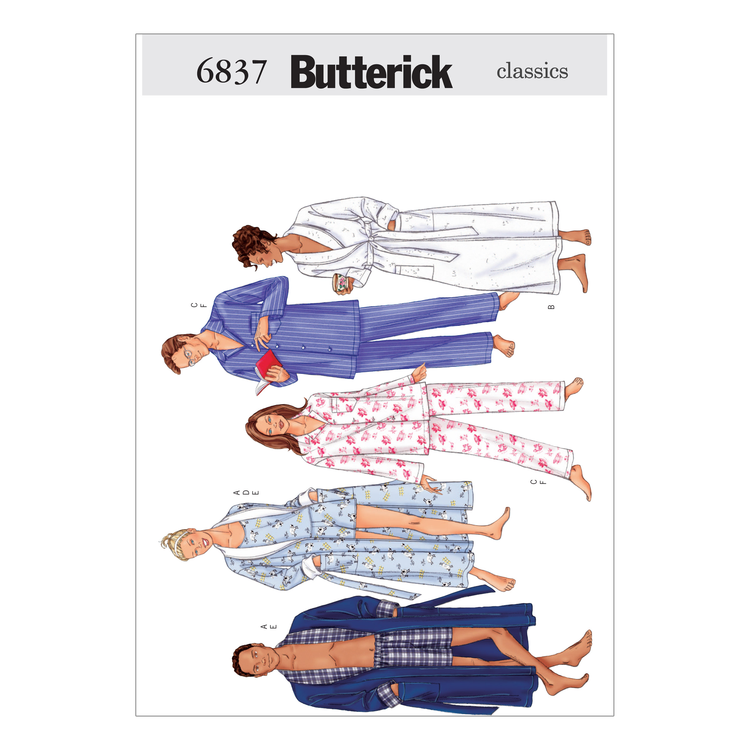 Butterick Unisex Robe Belt Top Shorts & Pants Pattern B6837 Size LRG