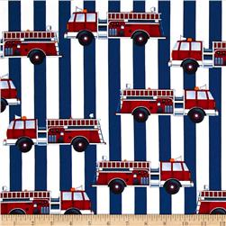 Fire Station Stripe Red Fabric
