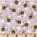 Buzy Bees Flannel Lilac