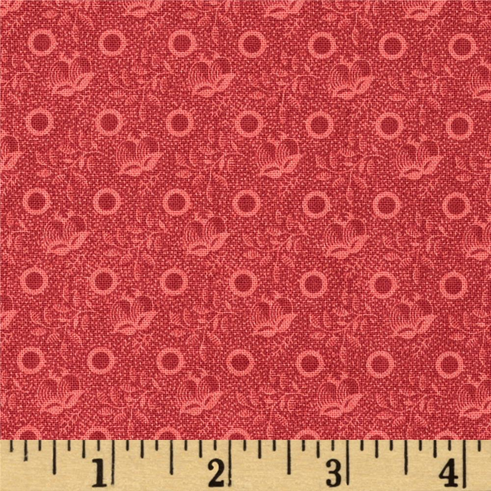 Edith Bud Cluster Cranberry - Discount Designer Fabric ...
