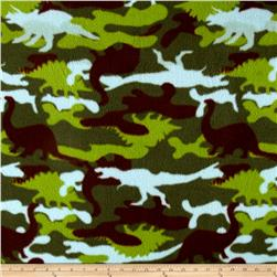 Printed Fleece Dino Camo Lime Green