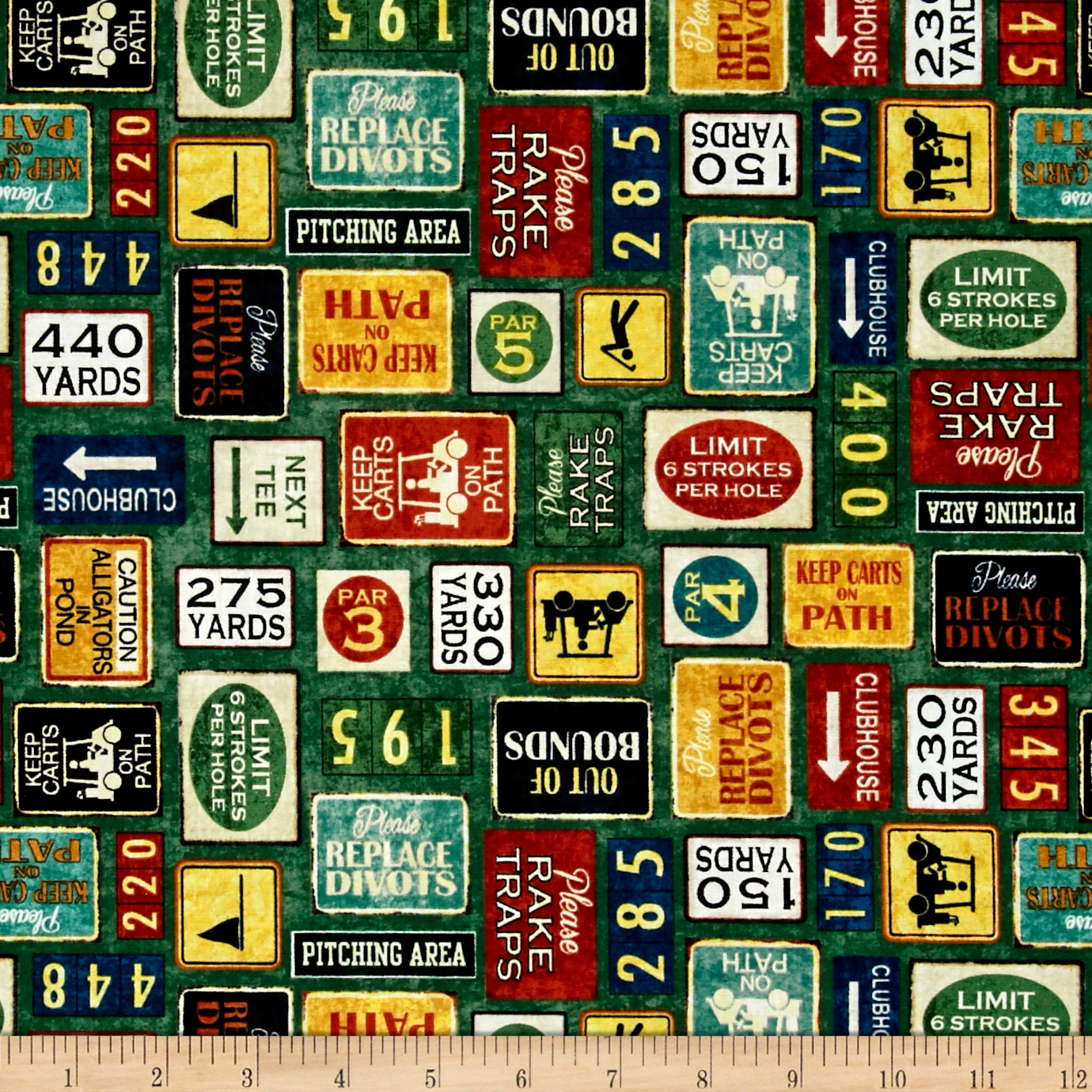 Tee'D Off Golf Signs Green Fabric by Quilting Treasures in USA