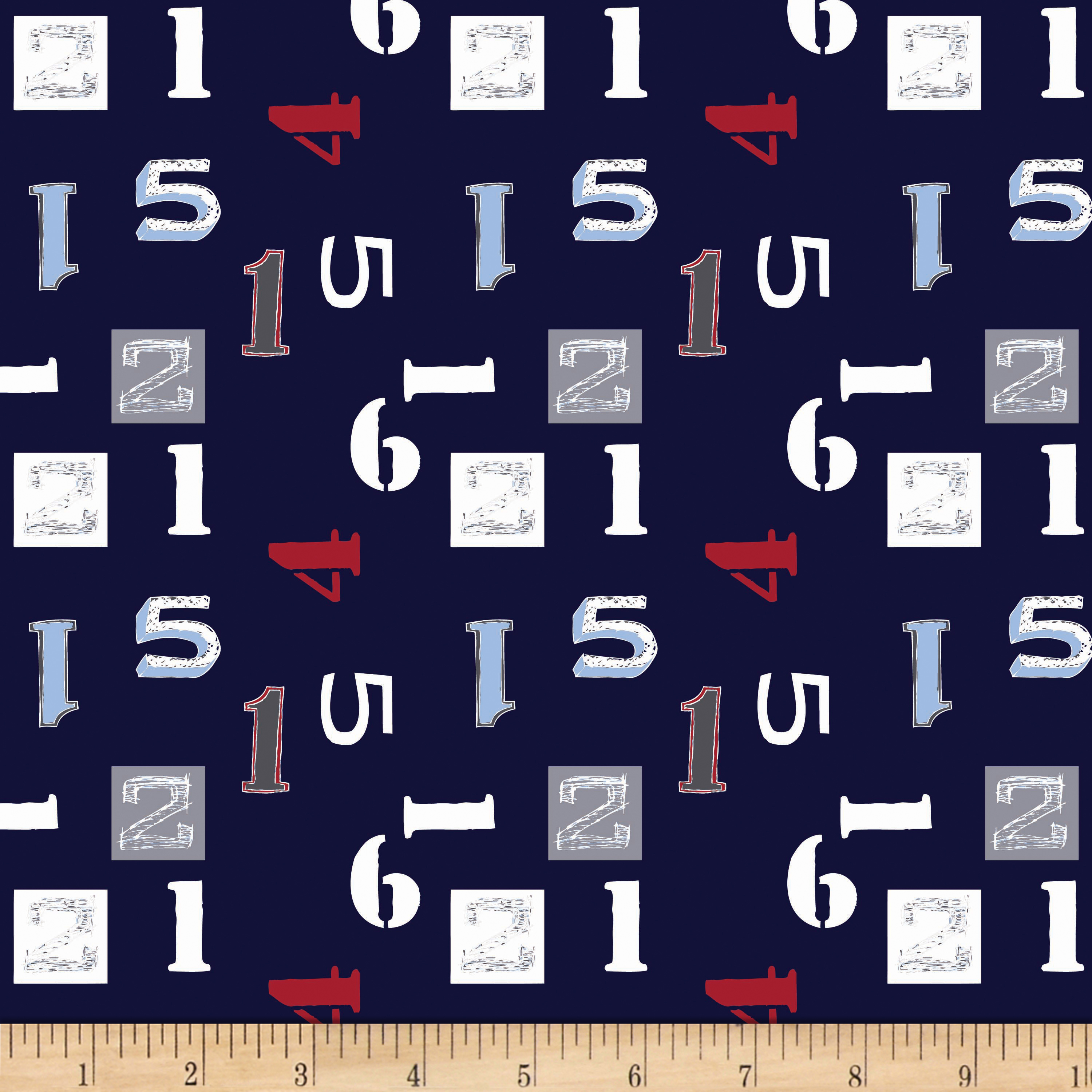 Riley Blake Speedster Sporty Numbers Blue Fabric