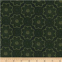 Timeless Treasures Holiday Hearth Metallic Tile Green