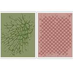 Sizzix Texture Fades Embossing Folders Checkerboard & Cracked Set