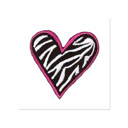 Boutique Applique Zebra Heart Black/White/Pink